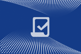 icon of paper with checkmark against textured background